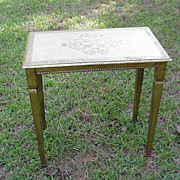 Florentine Table w Gold Painted Gesso and Cream Top Decorated w Hearts