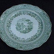 Ridgway's Green English Transferware Plate, Grecian Pattern