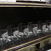 Set of 6  Clear Bar Glasses Decorated w Metal Trout on Front