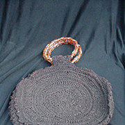SALE Crocheted Purse with Lucite Spiral Handles