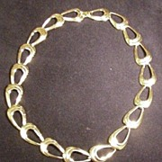 Vintage Napier Necklace, Polished, Gold Tone Metal Links