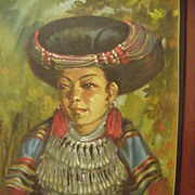 Vintage Oil  Figural Study of Southeast Asian Beauty in Native Costume