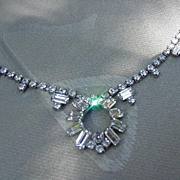 Vintage Rhinestone Necklace w Prong-Mounted Stones, Rhodium Plating
