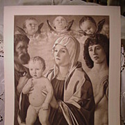 1900 Photogravure Etching Bellini's  Virgin , St. Peter,  St. Sebastian""