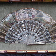 Exquisite H/P French Fan in Shadowbox Frame, Pierced MOP Sticks, Elaborate Rocaille Decoration