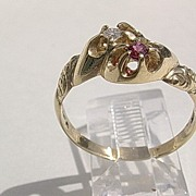 14kt Vintage Ruby/Diamond Ladies Ring