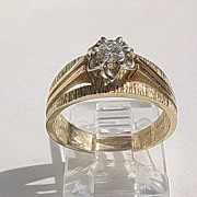 14kt Yellow/White Gold Diamond Solitaire Vintage Engagement Ring