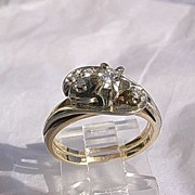 14kt Yellow Gold Vintage Diamond Engagement and Interlocking Diamond Wedding Band Set