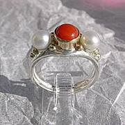 Sterling Silver/10kt Artisan Coral and Freshwater Pearl Ladies Ring