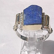 Sterling Silver/10kt Gold Unique Cut Lapis Lazuli Artisan Unisex Ring