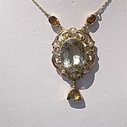 14kt Vintage Multi Citrine and Seed Pearl Pendant Necklace