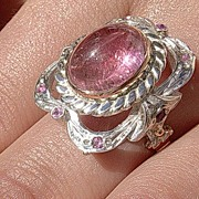 Sterling Silver/9kt Rose Gold Pink Tourmaline & Rubies Artisan Ladies Ring