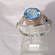 Sterling Silver/9kt Pink Gold Sky Blue Topaz Artisan Ladies Ring
