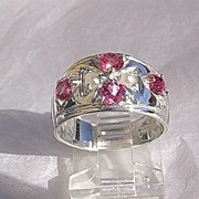 Sterling Silver Artisan Multi Pink Tourmaline & Seed Pearl Ladies Ring/Band