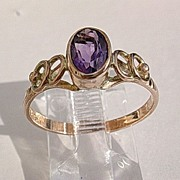 9kt Pink Gold Amethyst Ladies ARTISAN Ring