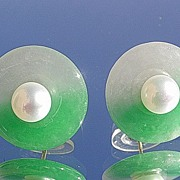 14kt Light Green Jade with Freshwater Pearl Artisan Stud Earrings