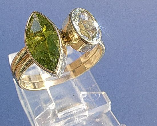 14kt Artisan Aquamarine/Peridot Stacking Rings