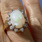 14kt  Vintage Opal/Multi Diamond Ladies Ring
