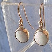 9kt Pink Gold Opal Dangle Earrings