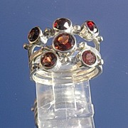 Sterling Red on Red Garnet Stacking Rings