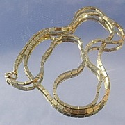 14kt Vintage Rectangular Link Long Necklace - Circa 1930's