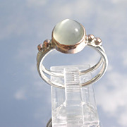 Sterling/9kt Gold Light Grey Spherical Moonstone Ladies Ring