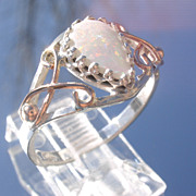 Sterling/9kt Pink Gold Pear Shape Fiery Opal Ladies Ring