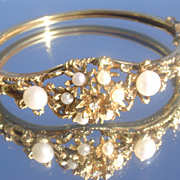 14kt Vintage Multi Pearl/Diamond Bangle Bracelet