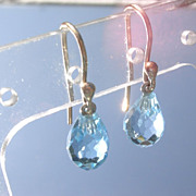 14kt Powder Blue Topaz Briolette Dangle Earrings