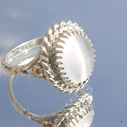 Sterling/9kt Pink Gold Grey Moonstone Ladies Ring