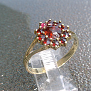 Sterling/Vermeil Finish Vintage Garnet Ladies Ring