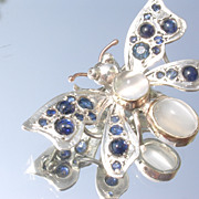 Sterling/9kt Vivacious Sapphire/Moonstone Butterfly Brooch/Pendant with Chain