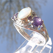 Sterling/9kt Pink Gold Opal/Amethyst Ladies Ring