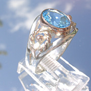 Sterling/9kt Rose Gold Sky blue Topaz Ladies Ring