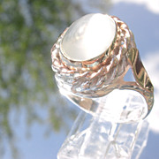 Sterling/9kt Pink Gold Light Grey Moonstone Ladies Ring