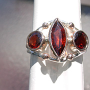 Sterling/9kt Pink Gold Extraordinary Multi Garnet Ladies Ring