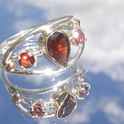 Sterling/9kt Multi Garnet Ladies Ring