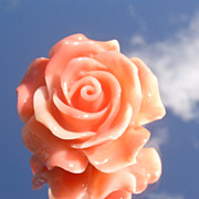 Man-Made Coral Rose Sterling Brooch/Pendant with Chain