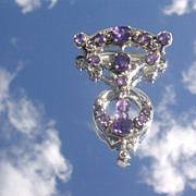 Sterling Vintage Inspired Multi Amethyst Brooch/Pendant