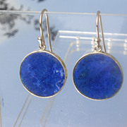 9kt Dangling Disc Lapis Lazuli Earrings