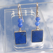 9kt Yellow Gold Lapis Lazuli Round and Square Dangle Earrings