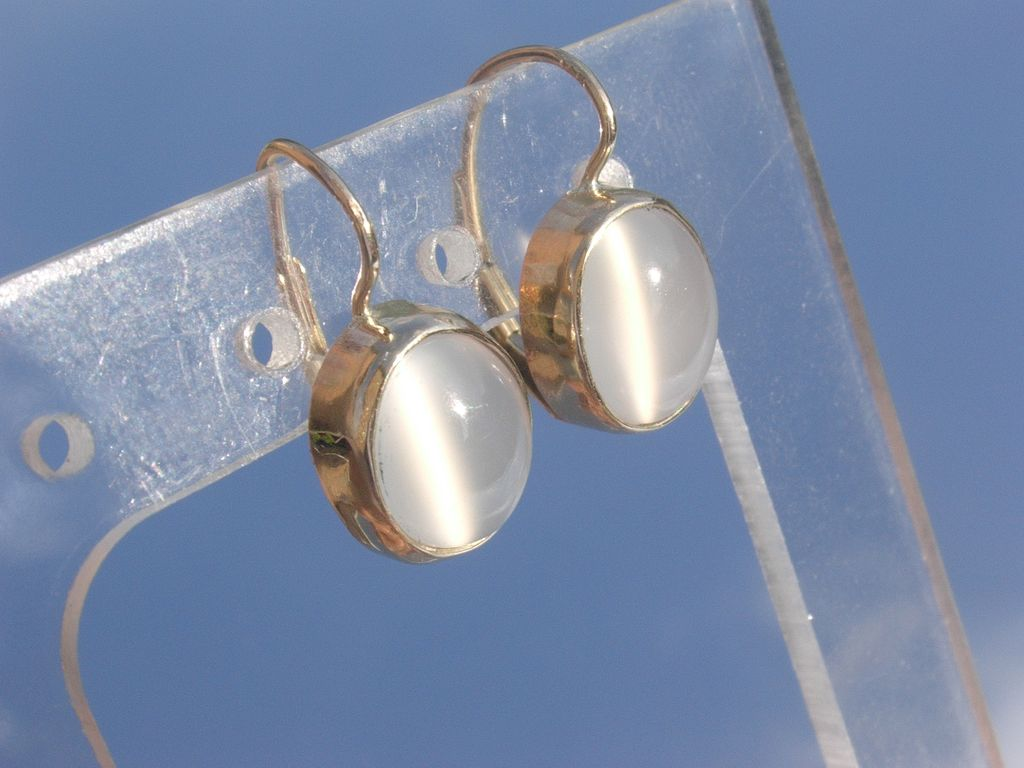 14kt Oval Moonstone Solitaire  Dangle Earrings European Closure