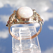 9kt Rose Gold Opal/Ruby Ladies Ring