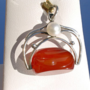 Sterling Vintage Inspired Carnelian/Freshwater Pearl FOB Pendant