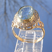 14kt Light Blue Aquamarine/Multi Diamond Ladies Ring