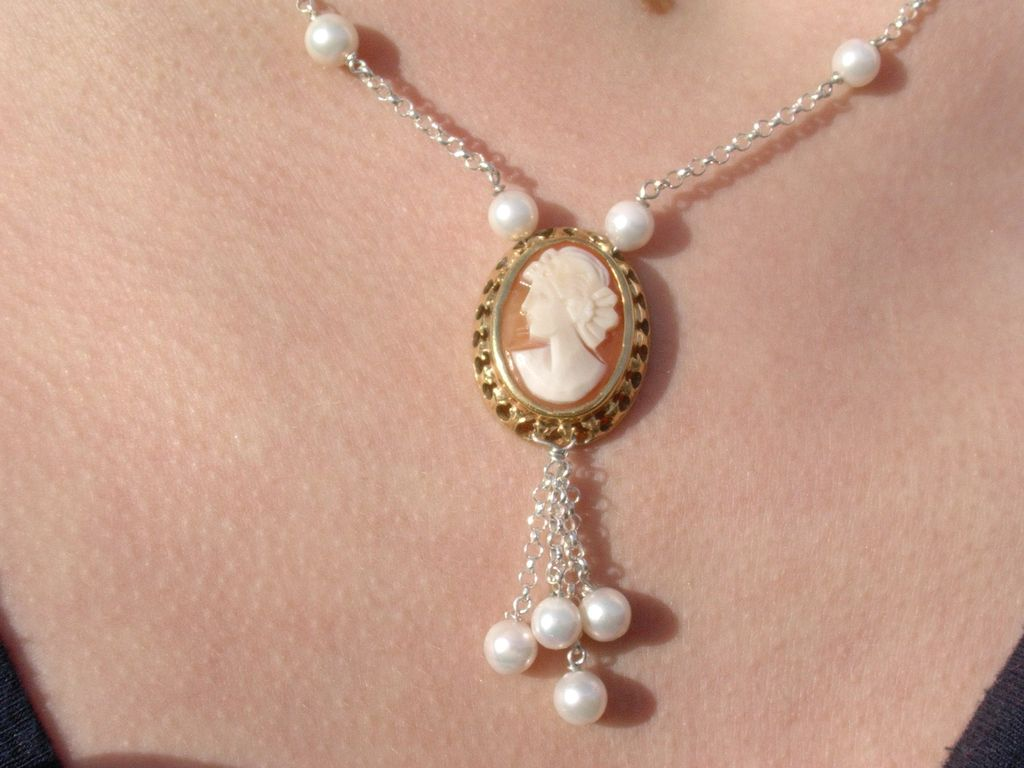 Sterling Cameo Pendant with Multi Culture Pearl Chain
