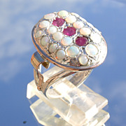Sterling/9kt Oval Multi Opal/Ruby Ladies Ring
