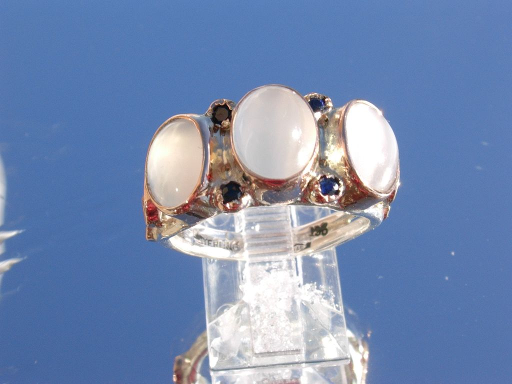 Sterling/9kt Multi Moonstone/Sapphire Ladies Ring
