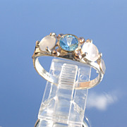 Sterling/9kt Blue Topaz/Moonstone Ladies Ring