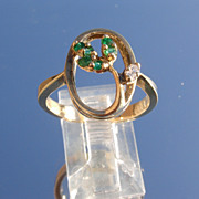 14kt Vintage Emerald/Diamond Leaf Ladies Ring